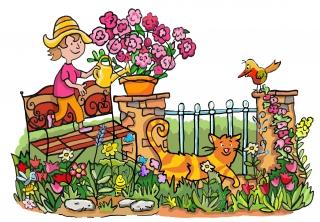 Girl is watering the flowers.jpg