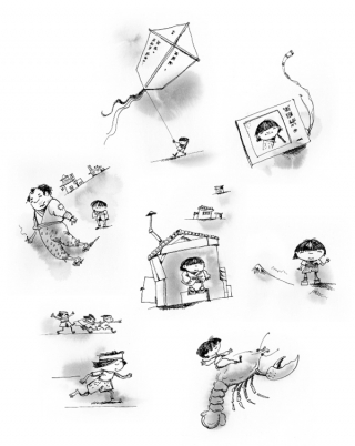 Illustrations to stories of Takeshi Kitano