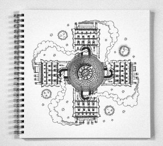 Drawing in a notebook Bookovsky 01