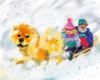 Children having fun on sleigh in winter .jpg
