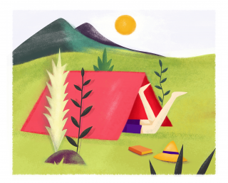 June summer camping in a tent on a meadow .png