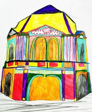 Colorfull pop rococo style pavillon