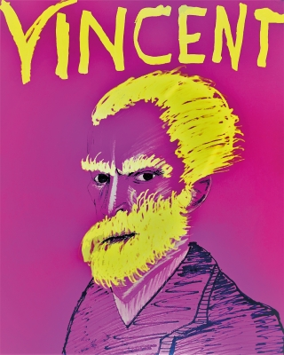 Pink and yellow portrait of Vincent Van Gogh