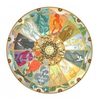 round shape zodiac with comics-like characters