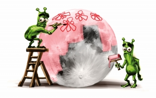 Two green aliens painting the moon to pink