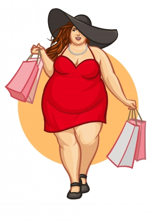 chubby glam woman in a large hat shopping