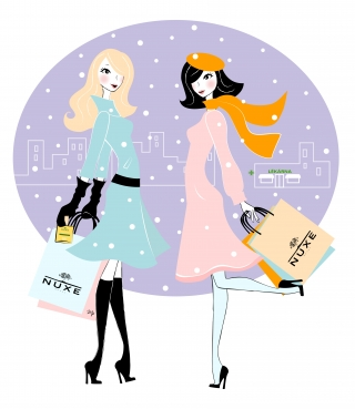 Two young women with shopping bags talking on the street.jpg