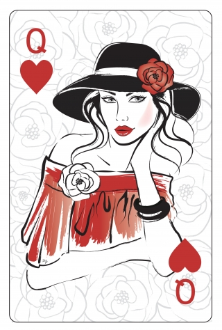 Young elegant woman on floral background playing card.jpg
