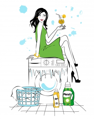 Young happy woman sitting on the washing machine and drinking orange juice.jpg