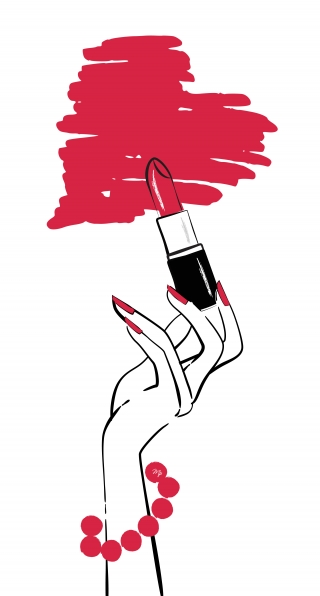 Feminine hand drawing a heart with lipstick