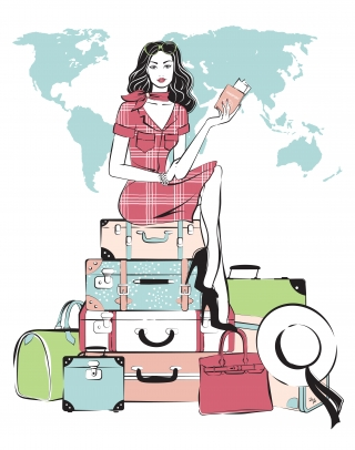 Young pretty woman sitting on her luggage traveling.jpg