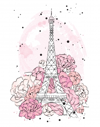 Pink peonies with Eiffel tower and watercolour background