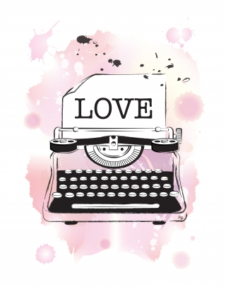 Vintage typewriter with pink watercolour background