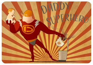 Daddy superhero changing the diaper