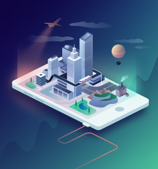 Isometric city landscape on the smartphone's surface.jpg