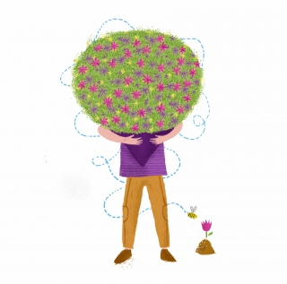 A florist is holding a huge bouquet of colorful flowers, while a bee is flying around him.