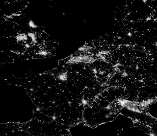 Europe at night from the sky