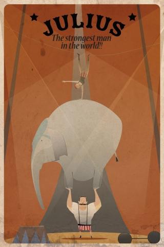 A circus strong man lifting an elephant and an acrobat