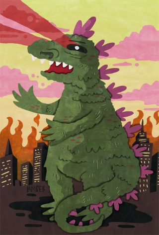 Godzilla destroying NY