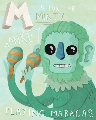 Minty Monkey playing Maracas