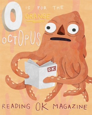 Octopus reading a magazine