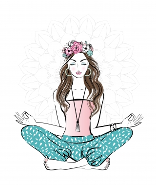 Young pretty woman with flower crown on her head meditating in yoga pose.jpg
