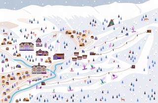 Winter land and skiing resort