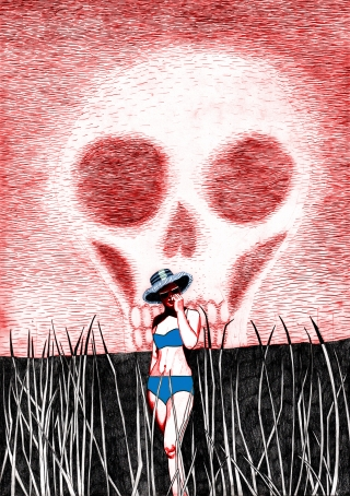 A woman is standing in the sun with a sunhat and a bikini. The sky is has formed a skeleton..jpg