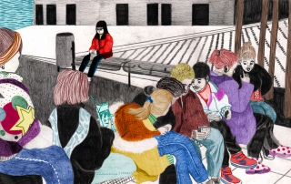 Girl sitting alone on the schoolyard, meanwhile the other girls are gathering.jpg