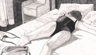 Woman sleeping on bed in Underwear.jpg