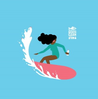 RUBBISH SURF: An illustration for #2minutebeachclean showing a woman surfing a wave full of plastic rubbish.jpg