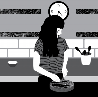 DINNER TIME: Black and white illustration of a lady making dinner.jpg