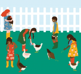 Down on the Farm: Children helping look after the poultry on a farm.jpg