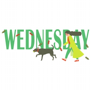 Windy Wednesday: Illustrated typography made for Snapchat. Lady walking her dog on a windy day..jpg