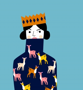 CHRISTMAS JUMPER: U woman wearing her oversized, handmade, knitted Christmas jumper on Christmas Day.jpg