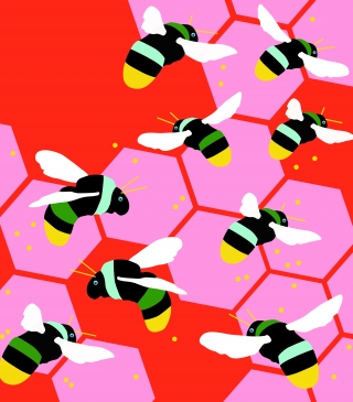 Busy Bees: Nine bees buzzing around thier hive, patern..jpg