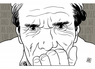 Hour is confused and we, as lost, live it (Pier Paolo Pasolini portrait)