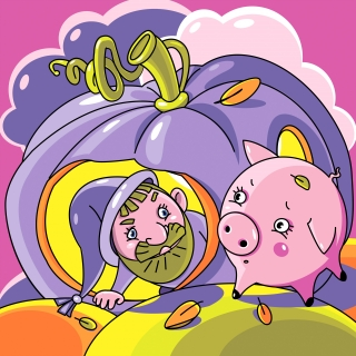 Surprised Gnome and Piglet met in the autumn field.jpg