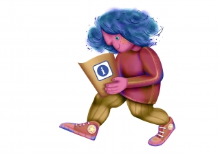 Blue hair character walking, holding a information sheet.jpg