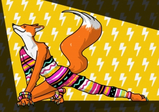 Let's dance! Dancing fox in David-bowie-inspired Eighties attire illustration