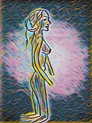 Woman on knees sunset