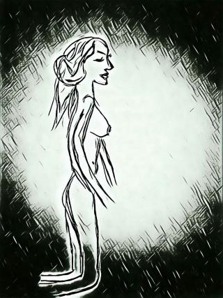 Woman on knees