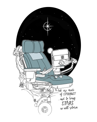Empty Stephen Hawking's wheelchair on a starry background