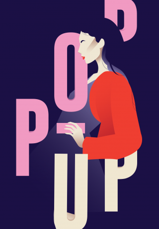 Model woman surrounded by vibrant typography on a poster.png