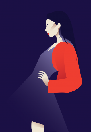Woman on fashion photoshoot with red lips on purple background.png