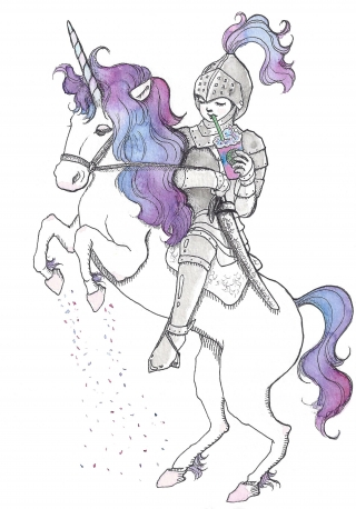 Young knight sipping Unicorn Frappuccino while riding Unicorn's back