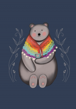 Bear wearing a rainbow shawl holding a tea cup.jpeg