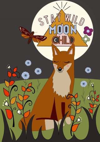 Fox sitting in field with the words 'stay wild moonchild'.jpeg