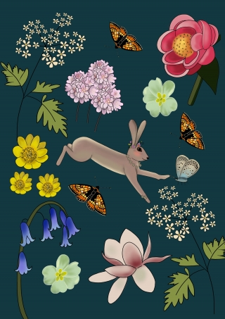 Hare leaping surrounded by flowers and butterflies.jpeg