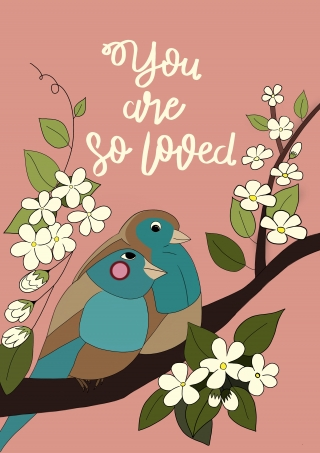 Two lovebirds sitting on a branch with blossom